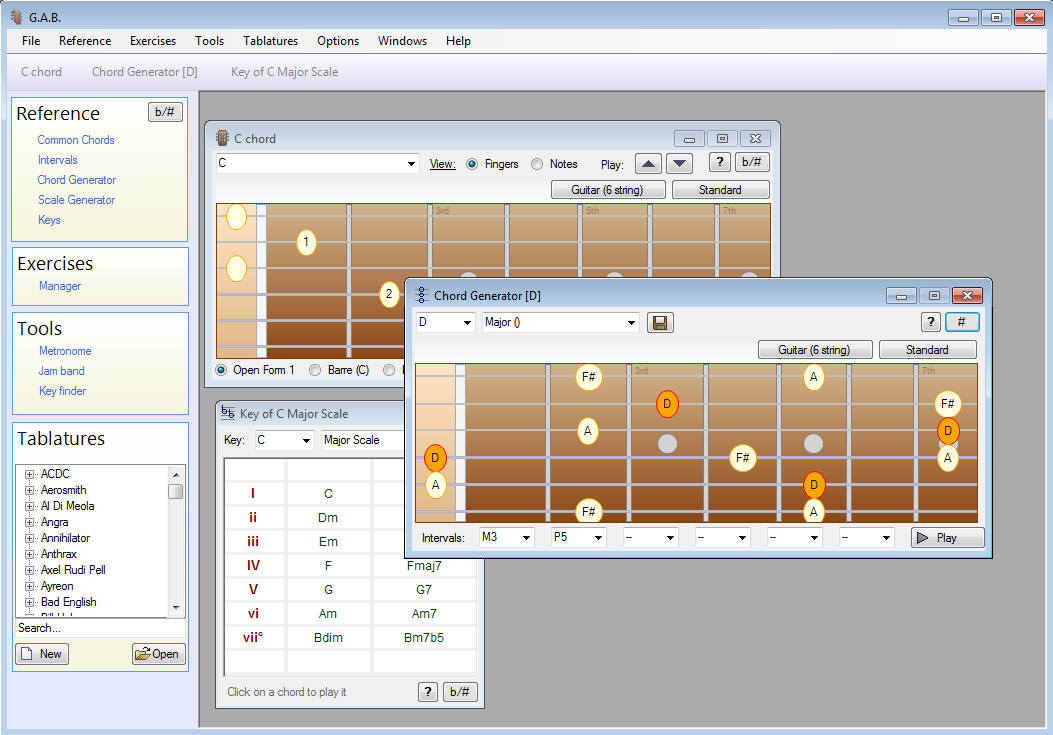 FREE software for fretted instruments such as Guitar Bass Banjo and more quick Screen Shot